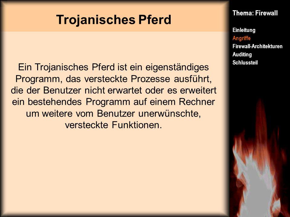 Trojanisches Pferd Thema: Firewall. Einleitung. Angriffe. Firewall-Architekturen. Auditing. Schlussteil.