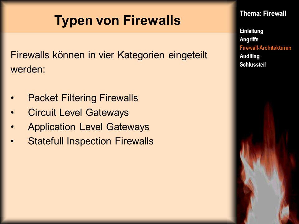 Typen von Firewalls Firewalls können in vier Kategorien eingeteilt