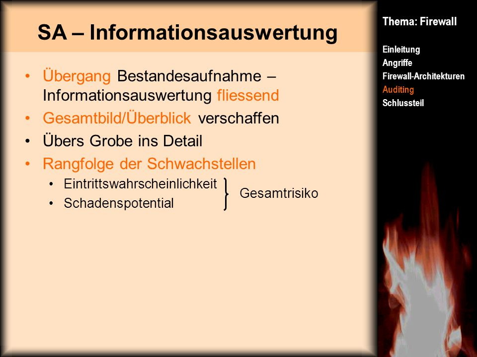 SA – Informationsauswertung