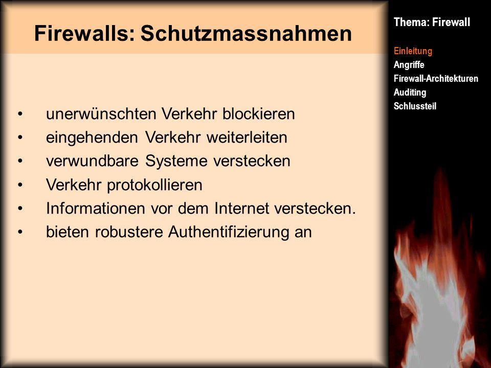 Firewalls: Schutzmassnahmen