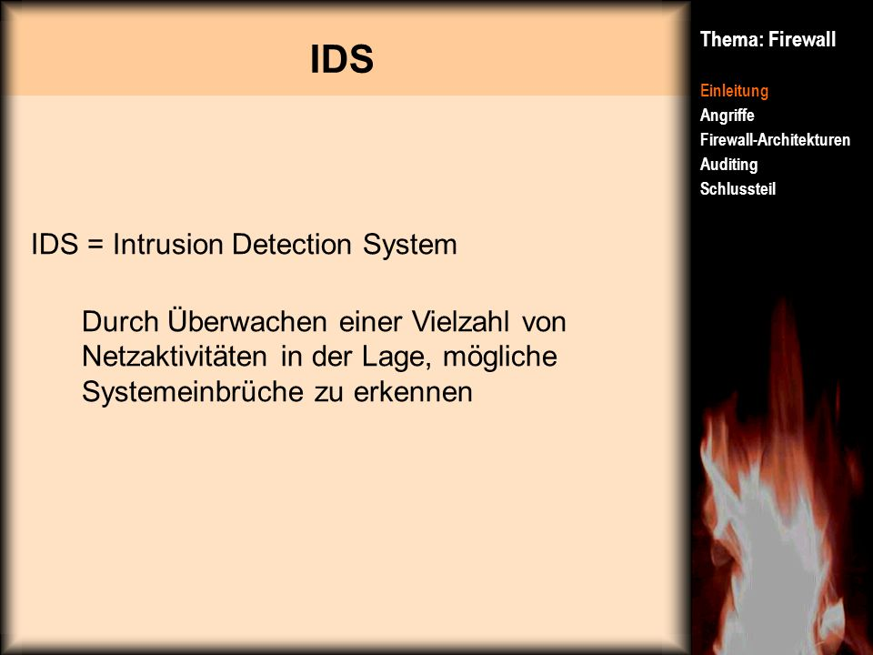 IDS IDS = Intrusion Detection System