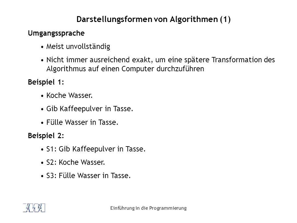 Darstellungsformen von Algorithmen (1)