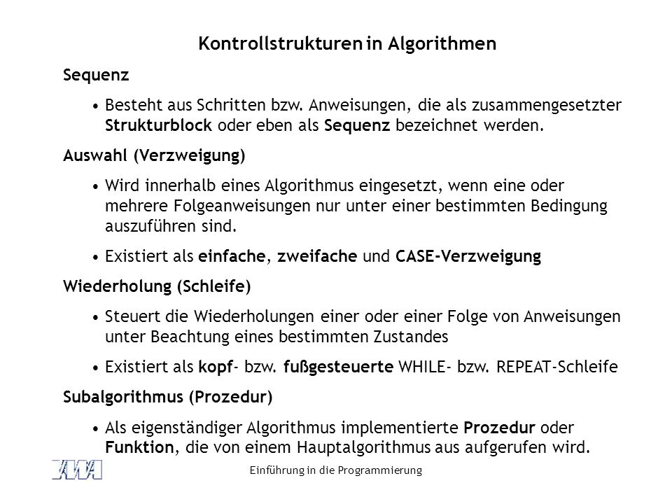 Kontrollstrukturen in Algorithmen