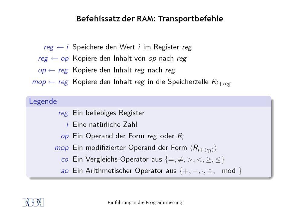 Befehlssatz der RAM: Transportbefehle