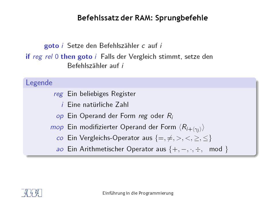 Befehlssatz der RAM: Sprungbefehle