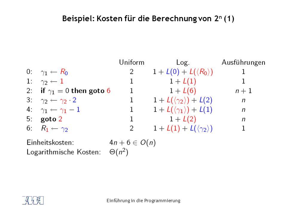 Beispiel: Kosten für die Berechnung von 2n (1)