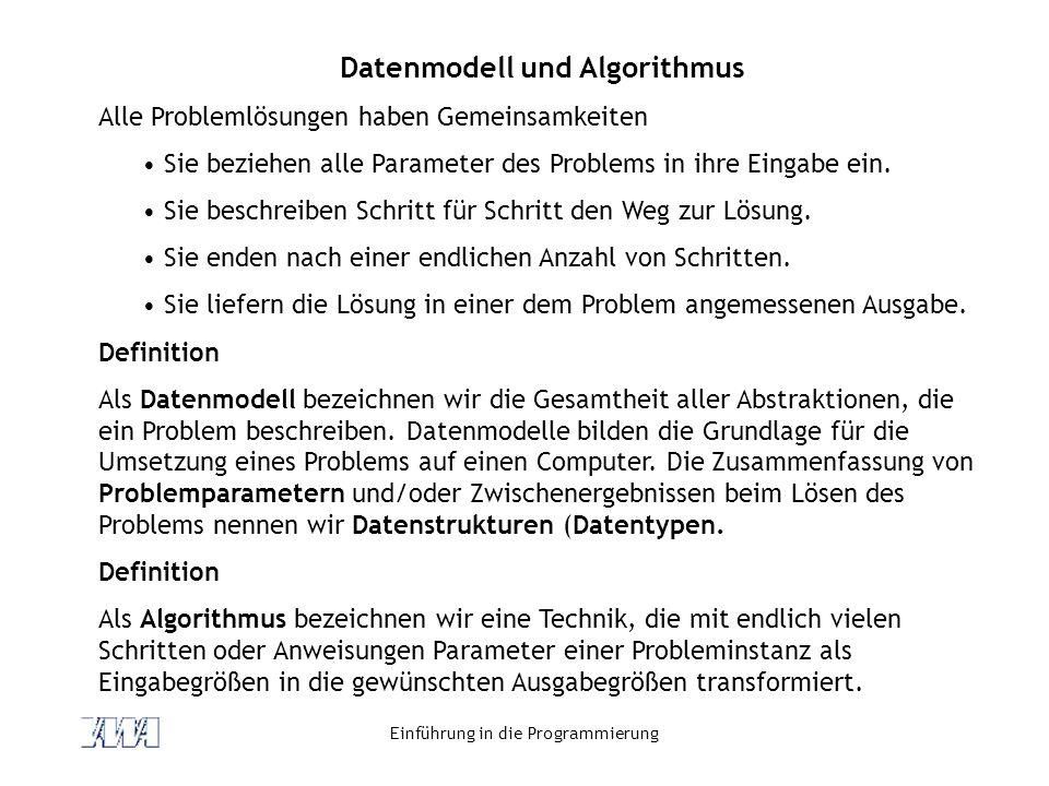 Datenmodell und Algorithmus
