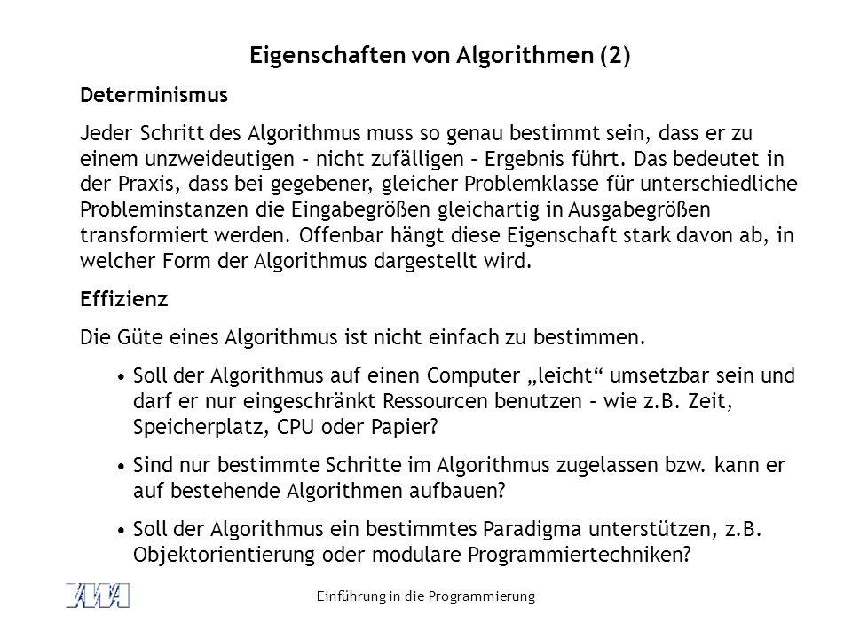 Eigenschaften von Algorithmen (2)