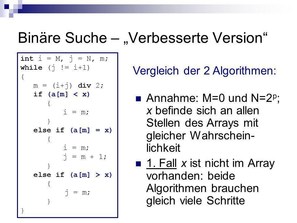 """Binäre Suche – """"Verbesserte Version"""