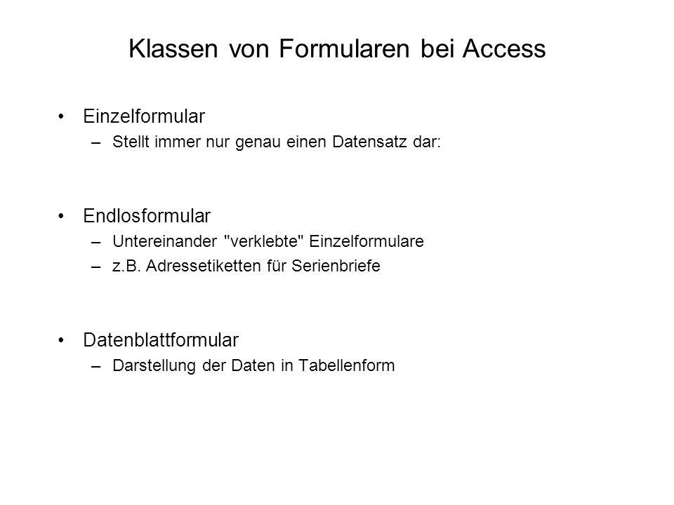 Klassen von Formularen bei Access
