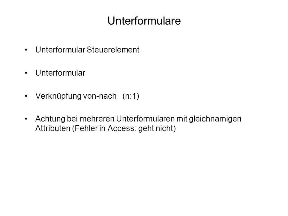 Unterformulare Unterformular Steuerelement Unterformular