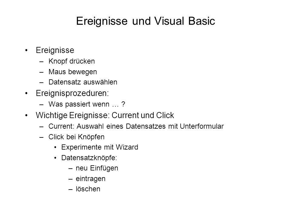 Ereignisse und Visual Basic