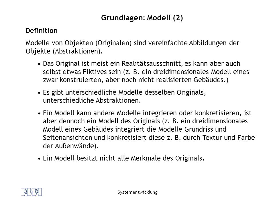 Grundlagen: Modell (2) Definition