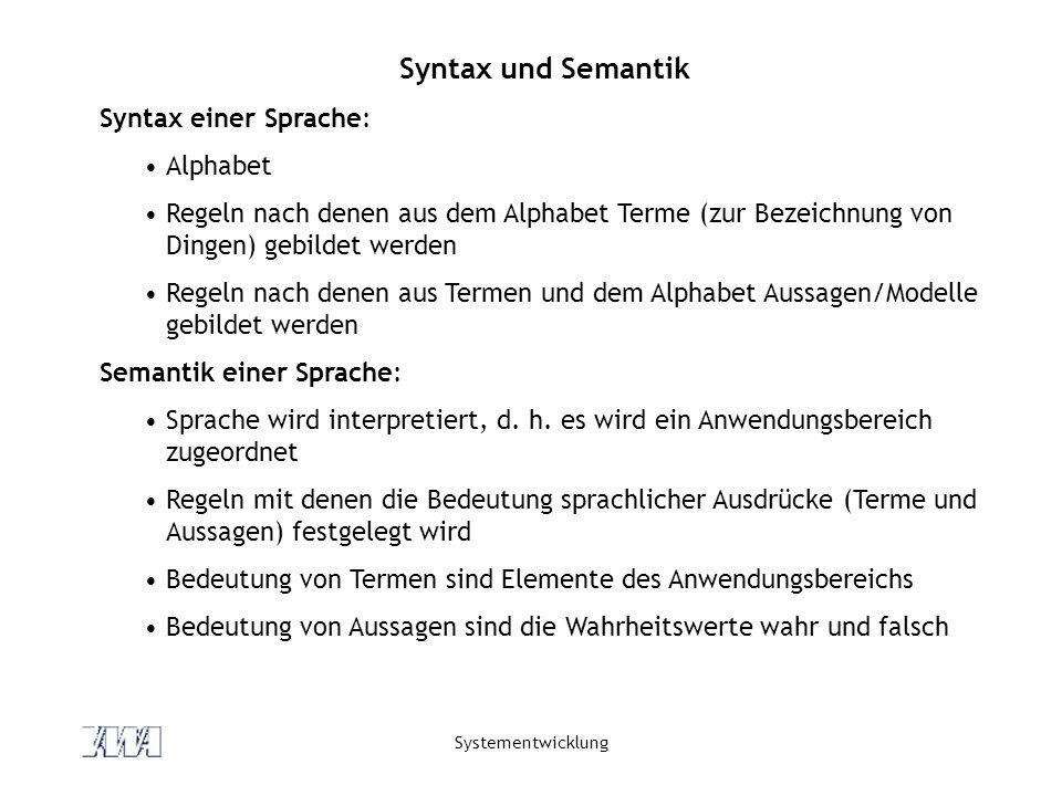 Syntax und Semantik Syntax einer Sprache: Alphabet