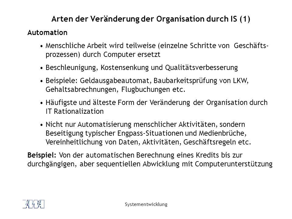 Arten der Veränderung der Organisation durch IS (1)
