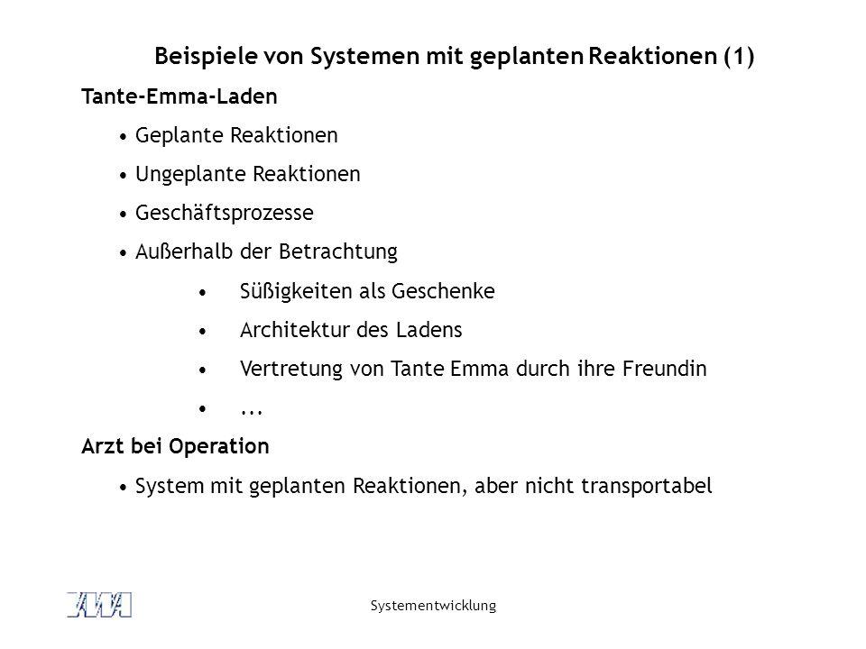 Beispiele von Systemen mit geplanten Reaktionen (1)