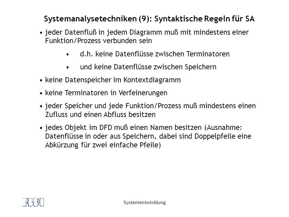 Systemanalysetechniken (9): Syntaktische Regeln für SA