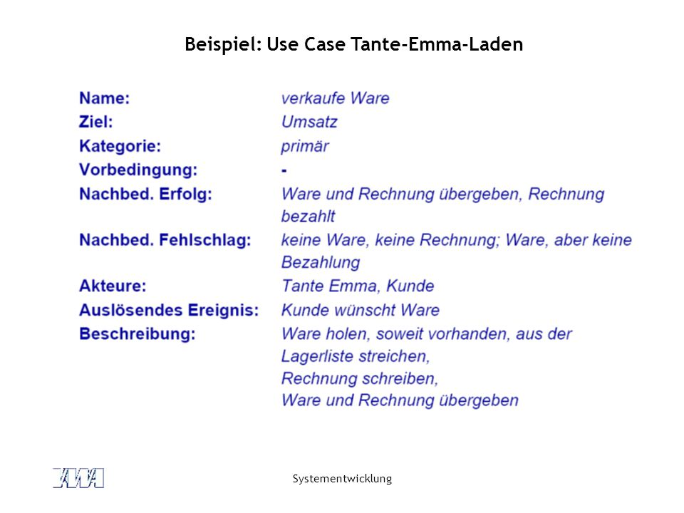 Beispiel: Use Case Tante-Emma-Laden