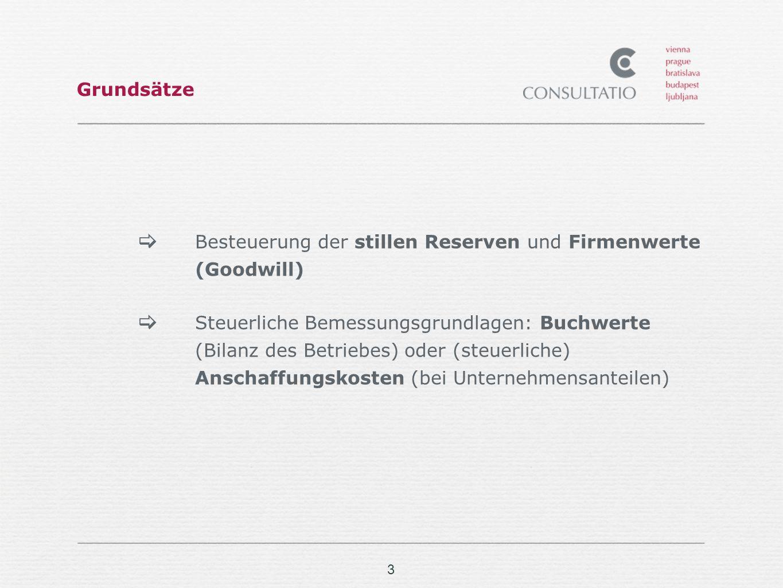 Grundsätze Besteuerung der stillen Reserven und Firmenwerte (Goodwill)