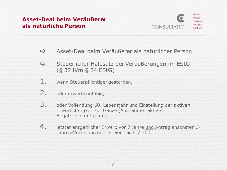 Asset-Deal beim Veräußerer als natürliche Person
