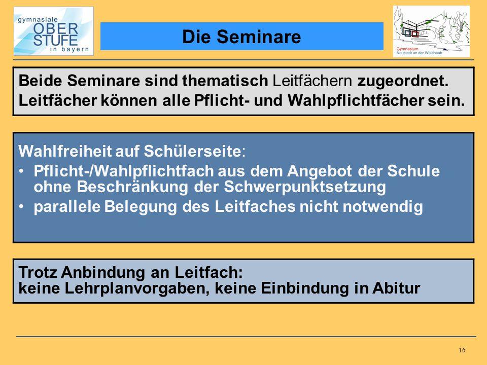 Die Seminare Beide Seminare sind thematisch Leitfächern zugeordnet.
