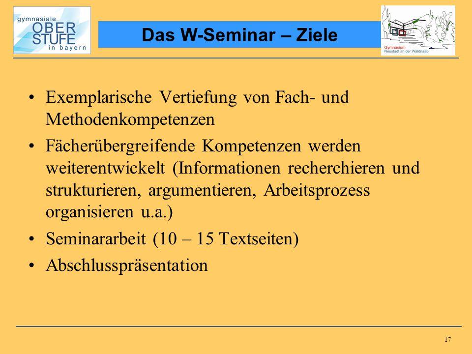 Das W-Seminar – Ziele Exemplarische Vertiefung von Fach- und Methodenkompetenzen.