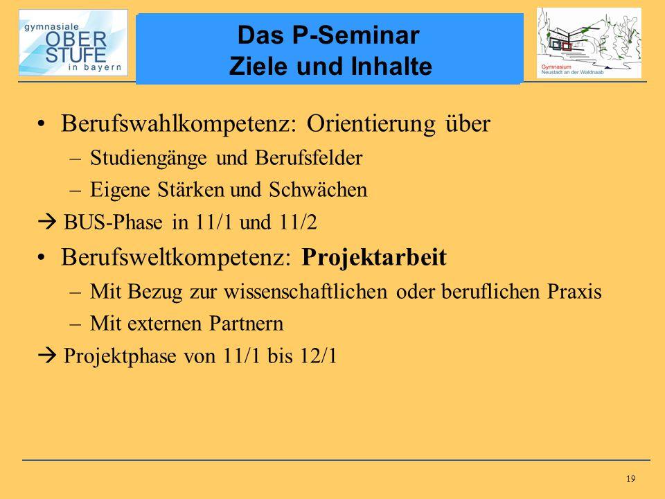 Das P-Seminar Ziele und Inhalte Das P-Seminar Ziele und Inhalte