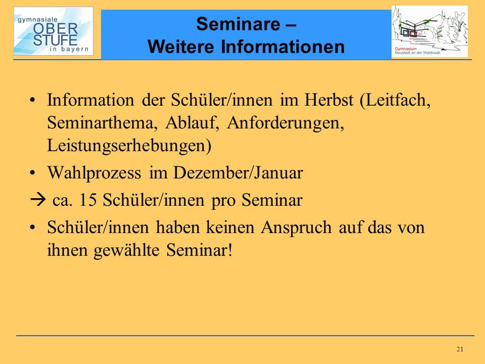 Seminare – Weitere Informationen