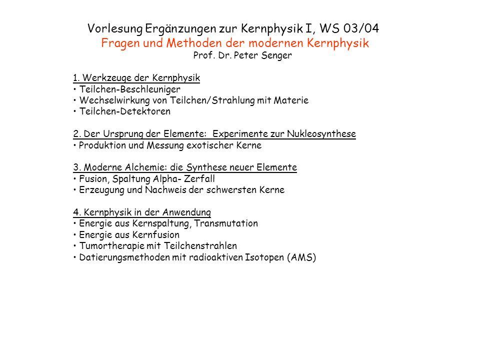 Vorlesung Ergänzungen zur Kernphysik I, WS 03/04