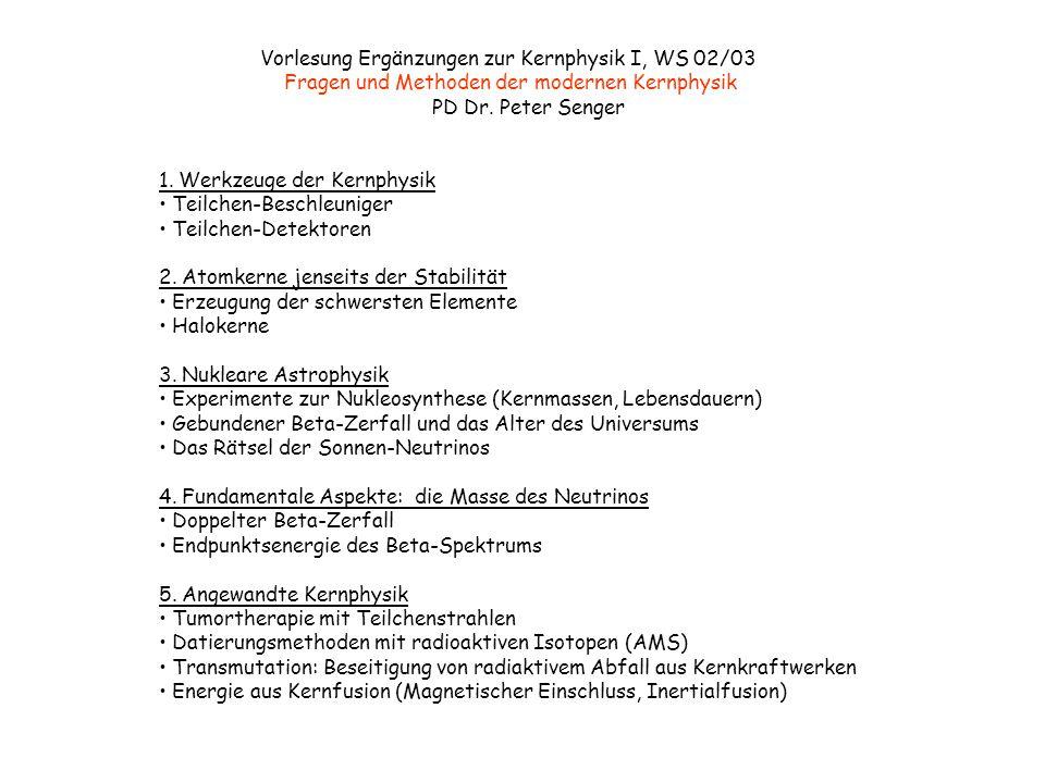Vorlesung Ergänzungen zur Kernphysik I, WS 02/03