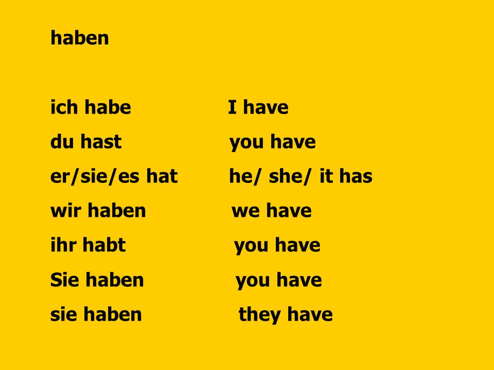 haben ich habe I have. du hast you have. er/sie/es hat he/ she/ it has.