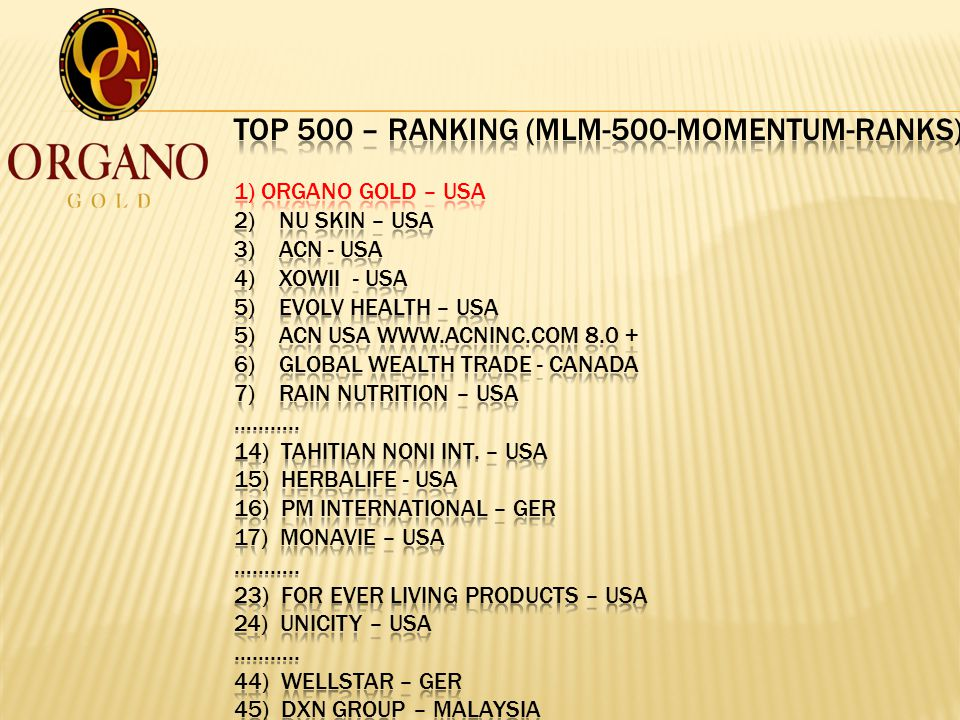TOP 500 – Ranking (mlm-500-momentum-ranks) 1) Organo Gold – USA 2) NU Skin – USA 3) ACN - USA 4) Xowii - USA 5) Evolv Health – USA 5) ACN USA ) Global Wealth Trade - Canada 7) Rain Nutrition – USA ………..