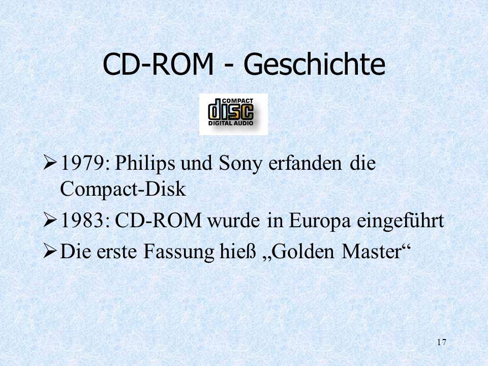 CD-ROM - Geschichte 1979: Philips und Sony erfanden die Compact-Disk