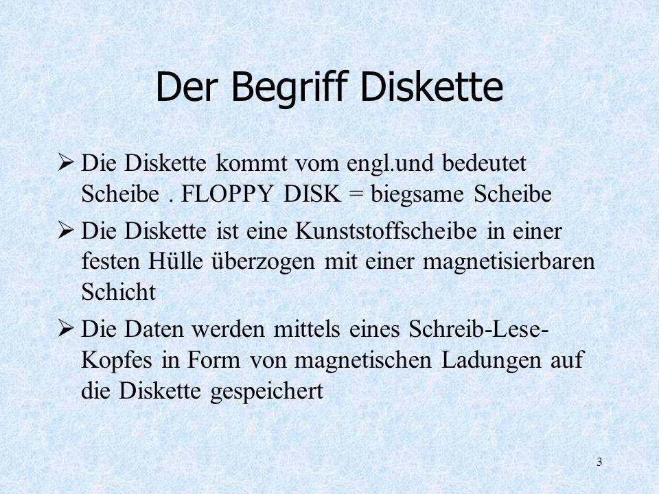 Der Begriff Diskette Die Diskette kommt vom engl.und bedeutet Scheibe . FLOPPY DISK = biegsame Scheibe.