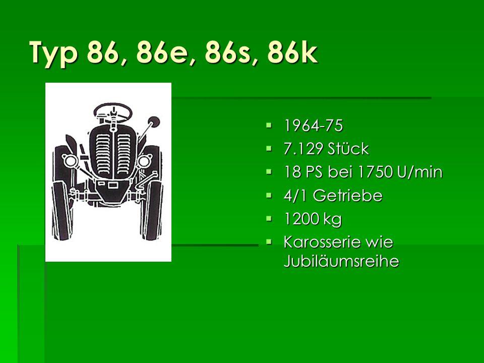 Typ 86, 86e, 86s, 86k 1964-75 7.129 Stück 18 PS bei 1750 U/min