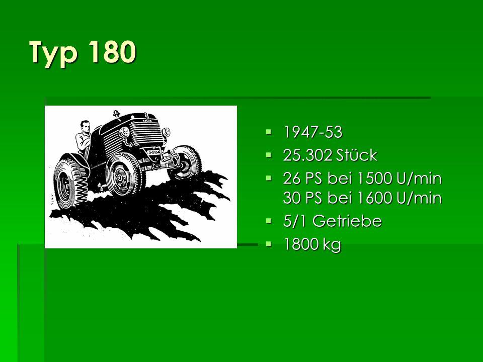 Typ 180 1947-53 25.302 Stück 26 PS bei 1500 U/min 30 PS bei 1600 U/min