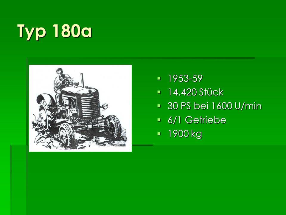 Typ 180a 1953-59 14.420 Stück 30 PS bei 1600 U/min 6/1 Getriebe