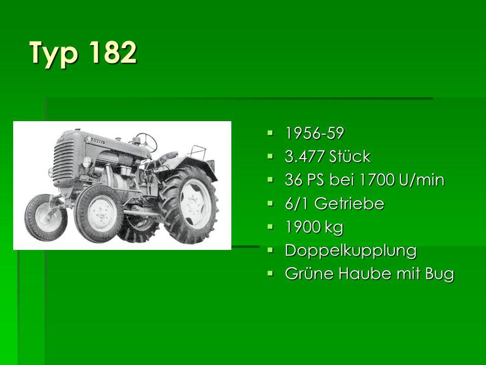 Typ 182 1956-59 3.477 Stück 36 PS bei 1700 U/min 6/1 Getriebe 1900 kg