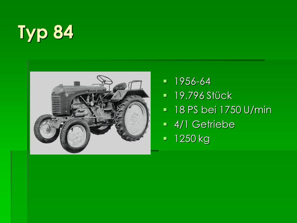 Typ 84 1956-64 19.796 Stück 18 PS bei 1750 U/min 4/1 Getriebe 1250 kg