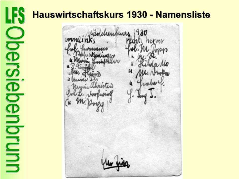 Hauswirtschaftskurs 1930 - Namensliste