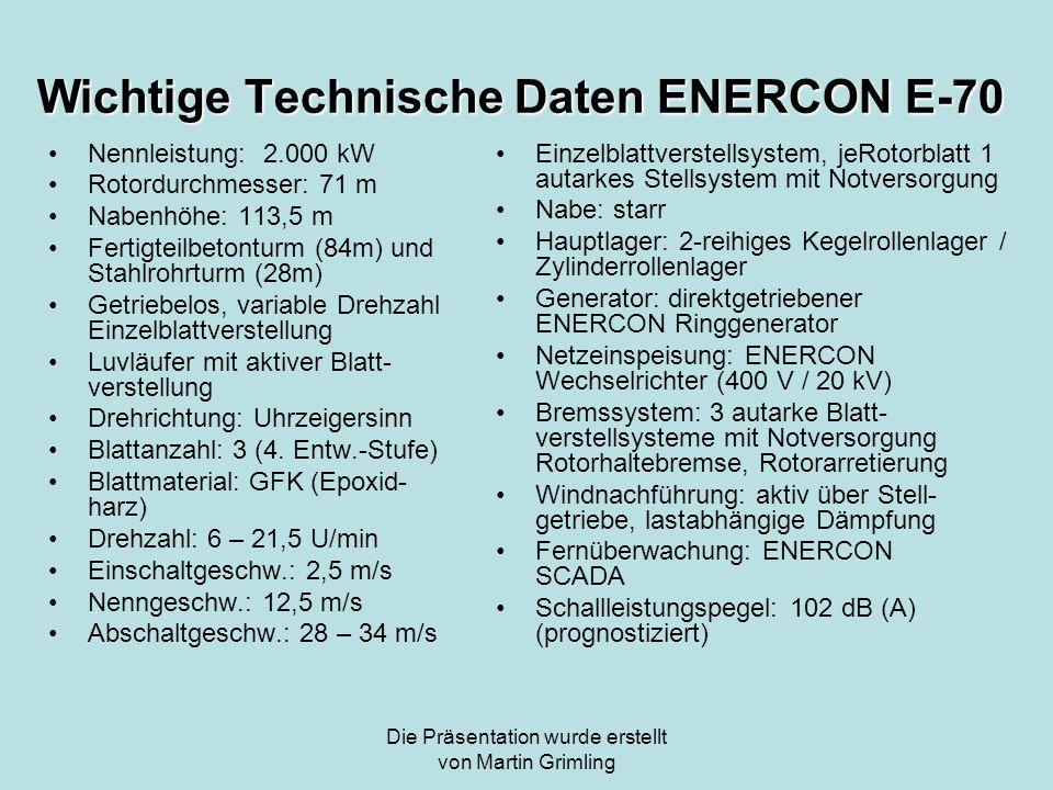 Wichtige Technische Daten ENERCON E-70