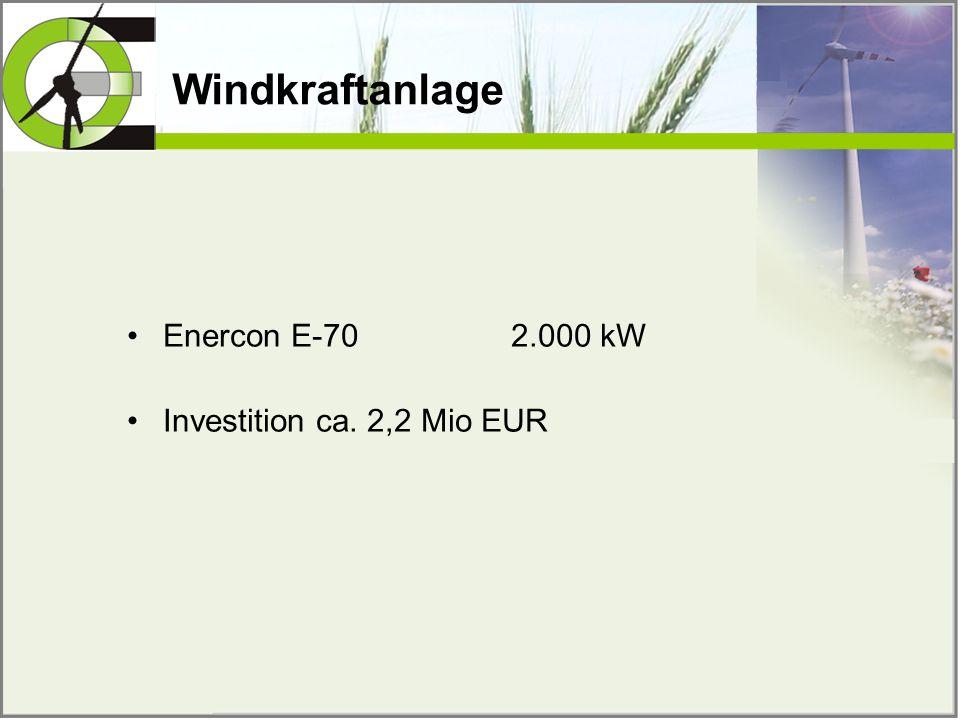 Windkraftanlage Enercon E-70 2.000 kW Investition ca. 2,2 Mio EUR