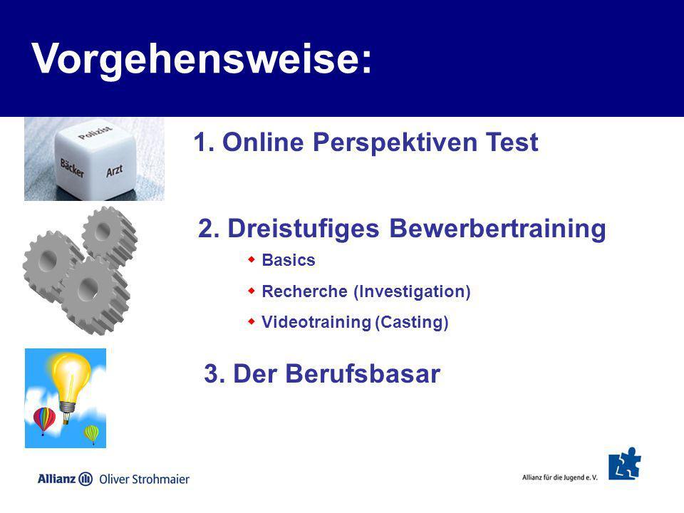 Vorgehensweise: 1. Online Perspektiven Test