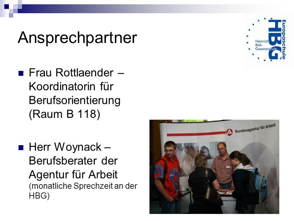Ansprechpartner Frau Rottlaender – Koordinatorin für Berufsorientierung (Raum B 118)