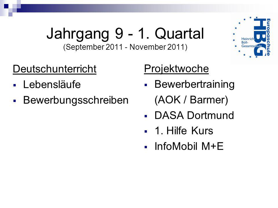 Jahrgang 9 - 1. Quartal (September 2011 - November 2011)