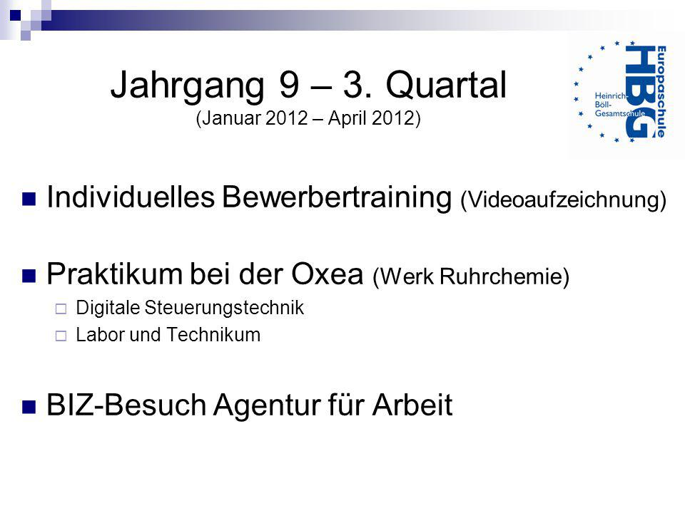 Jahrgang 9 – 3. Quartal (Januar 2012 – April 2012)