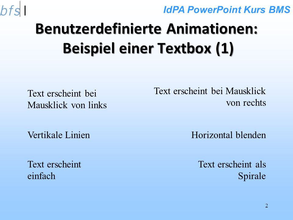 Benutzerdefinierte Animationen: Beispiel einer Textbox (1)