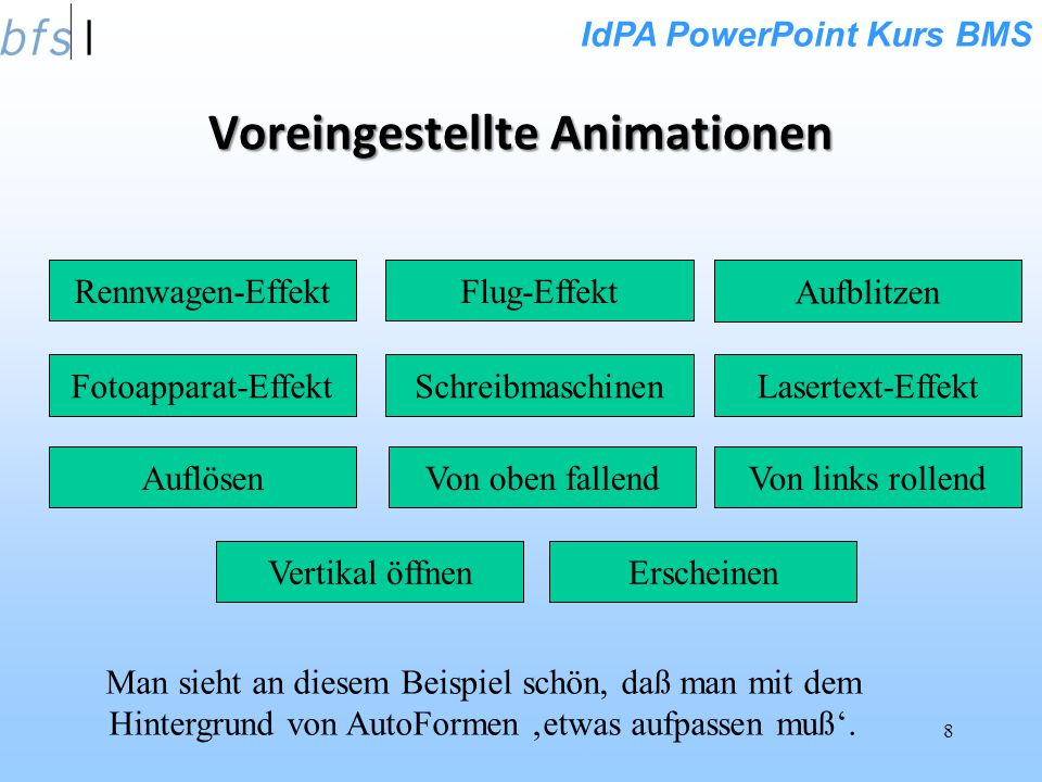 Voreingestellte Animationen