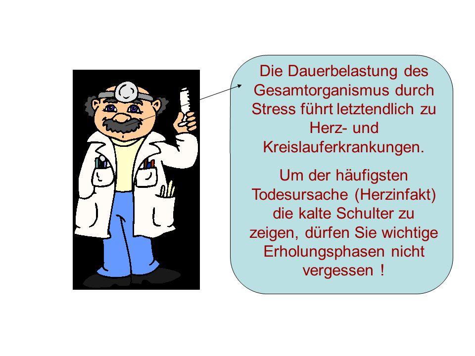 Die Dauerbelastung des Gesamtorganismus durch Stress führt letztendlich zu Herz- und Kreislauferkrankungen.