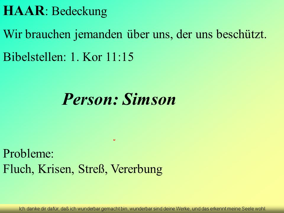 Person: Simson HAAR: Bedeckung